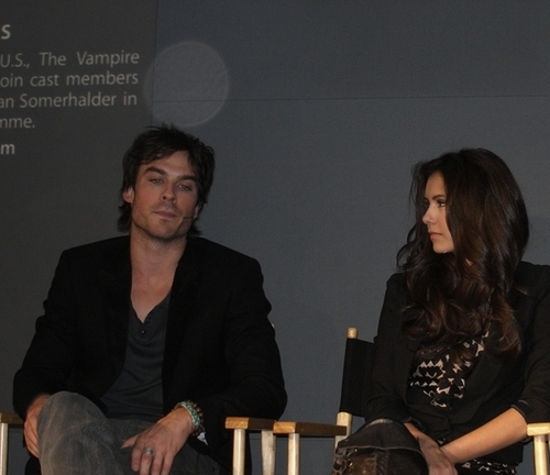 Ian Somerhalder and Nina Dobrev wallpaper probably containing a sign and a concert titled Ian/Nina ღ Old Pics