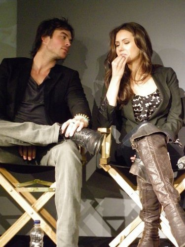 Ian Somerhalder and Nina Dobrev wallpaper containing a hip boot called Ian/Nina ღ Old Pics
