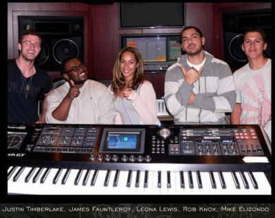 Leona and Justin in the Recording Studio