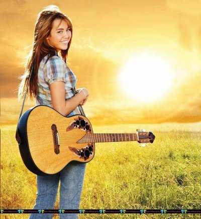 Hannah Montana wallpaper containing an acoustic guitar entitled Miley