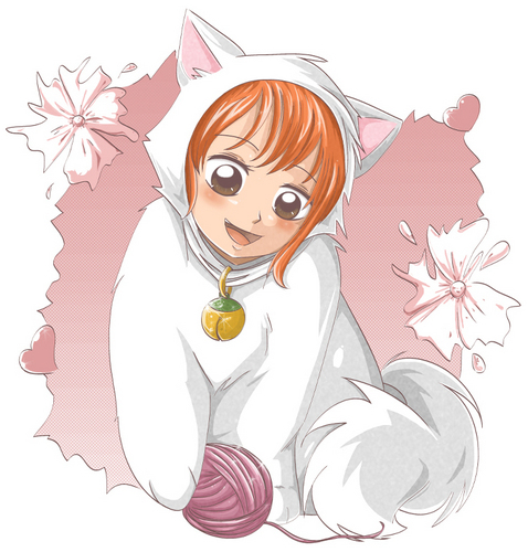 One Piece karatasi la kupamba ukuta possibly containing anime entitled Nami Cat