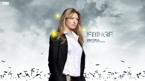 Fringe fond d'écran with a business suit and a well dressed person titled Olivia Dunham