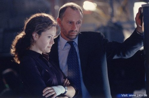24 wallpaper with a business suit, a suit, and a three piece suit entitled Reiko Aylesworth & Xander Berkeley as Michelle Dessler & George Mason