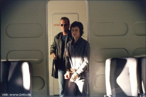 24 wallpaper probably with an automobile entitled Sarah Clarke & Kiefer as Nina Myers & Jack Bauer