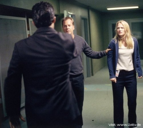 24 wallpaper probably with a well dressed person and a business suit entitled Sarah Wynter & Kiefer as Kate Warner & Jack Bauer