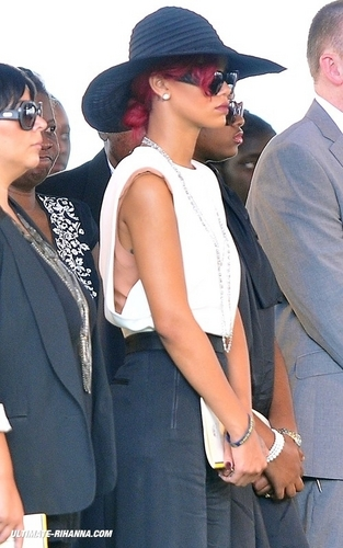 Rihanna wallpaper with a business suit called State Funeral of the Barbados' Prime Minister David Thompson - November 3, 2010