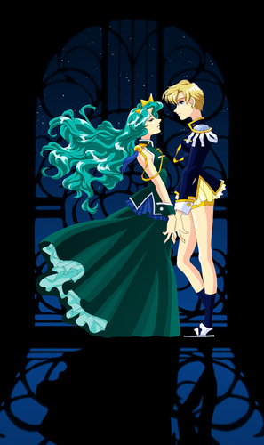 Sailor Uranus and Sailor Neptune karatasi la kupamba ukuta entitled harumichi
