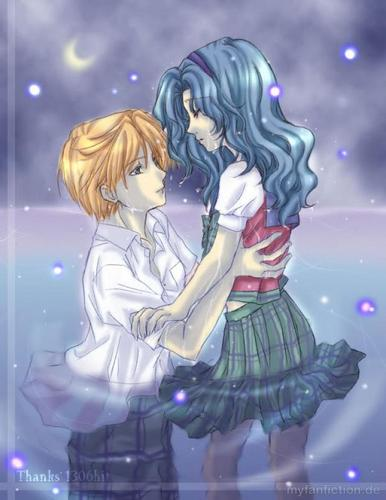 Sailor Uranus and Sailor Neptune karatasi la kupamba ukuta with anime titled michiharuka