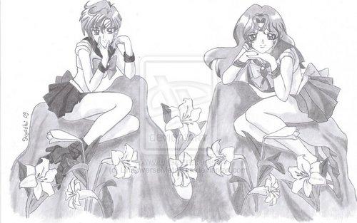 Sailor Uranus and Sailor Neptune karatasi la kupamba ukuta possibly containing anime titled michiharuka
