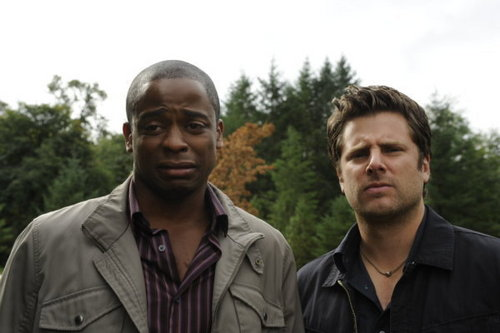 Psych wallpaper probably containing a business suit entitled 5x12 Dual Spires promo pics
