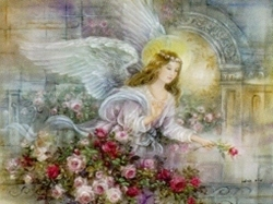 Angel And Roses In Art