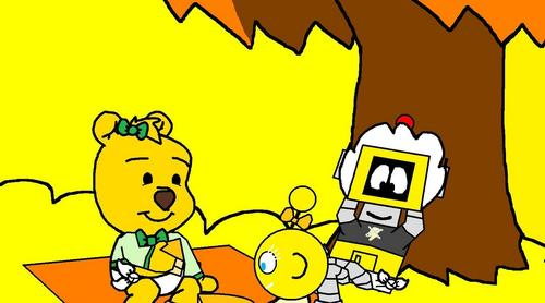 Winnie the Pooh wolpeyper containing anime entitled mga sanggol Pooh, Plex and Lottie in Forever Young