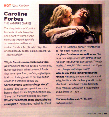 Candice Accola kertas dinding entitled Caroline Forbes is TV Guide's 'Hot New Sucker'!