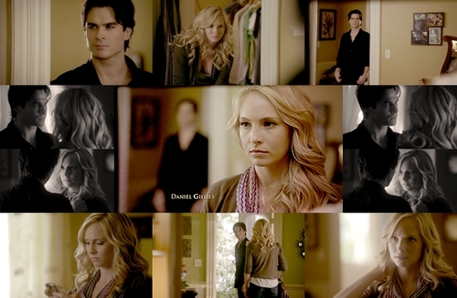 Caroline Forbes wallpaper containing a portrait entitled Damon/Caroline [2x08]