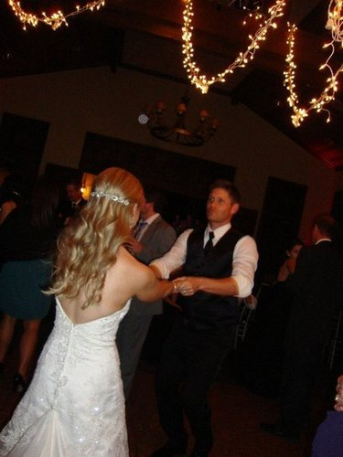 Jensen with his sister at her wedding!