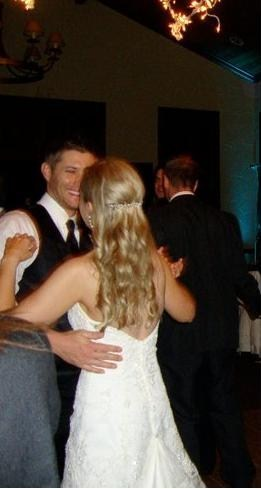 Jensen with his sister at her wedding