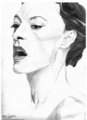 Joan Cusack Pencil Drawing With Her Mouth Open