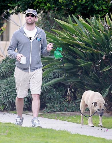 Jon Hamm Walking his Dog