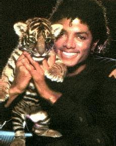 MJ holding a tiger