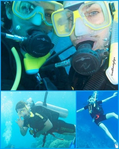 Nina &amp; Ian snorkeling in Australia - ian-somerhalder-and-nina-dobrev Photo