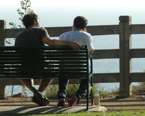 Luke Macfarlane Hintergrund with a park bench entitled luke macfarlane