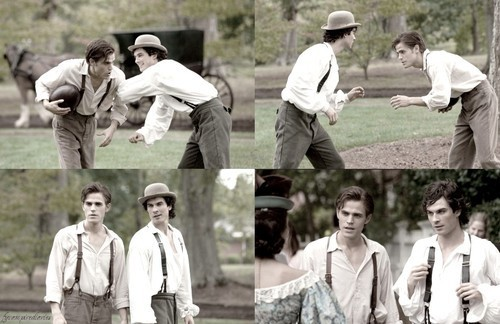 Damon and Stefan Salvatore fondo de pantalla probably with a postigo, wicket called 1864 :)