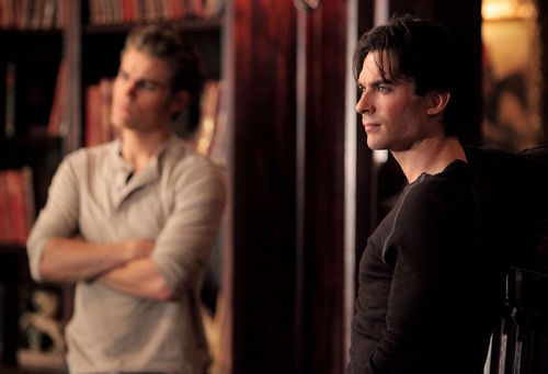 Damon and Stefan Salvatore 壁紙 containing a 読書 room called 2x10 'The Sacrifice' stills (HQ)