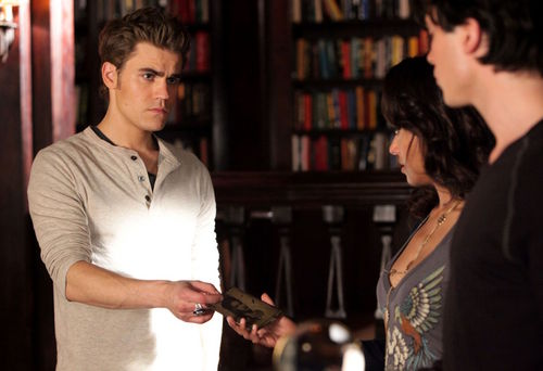 Damon and Stefan Salvatore پیپر وال probably with a reading room and a bookshop entitled 2x10 'The Sacrifice' stills (HQ)