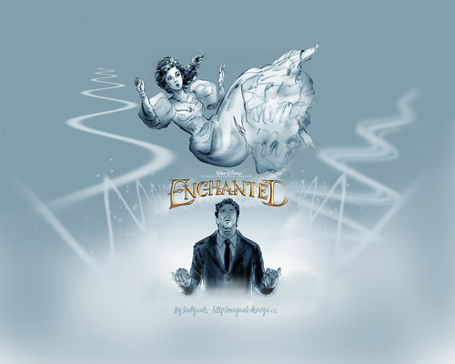 Riselle(Robert/Giselle) Enchanted wallpaper probably with a fountain and anime titled Enchanted
