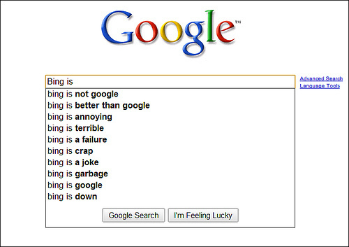 Google about Bing...