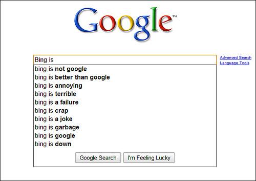 google about Bing...