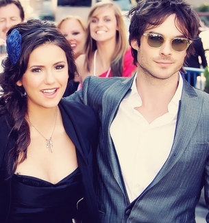 Ian Somerhalder and Nina Dobrev wallpaper with sunglasses and a portrait titled Ian/Nina ღ