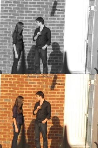 Ian & nina on set of the return