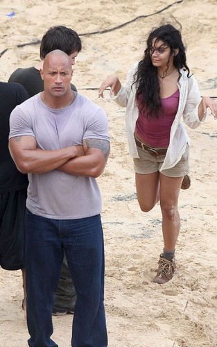 Josh on set of Journey 2: The Mysterious Island with Vanessa and Dwayne :)