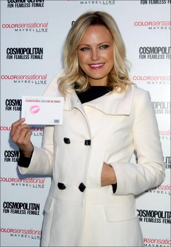 Malin @ Cosmopolitan Magazine, Maybelline & The USO Collect Kisses For The Troops