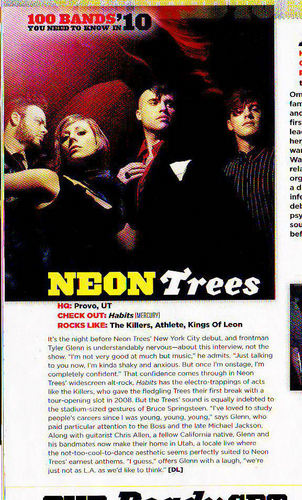 Neon Trees in Alternative Press