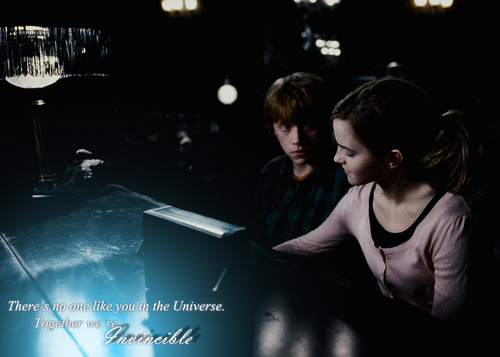 romione wallpaper possibly containing a sign and a living room titled Ron&Hermione <3