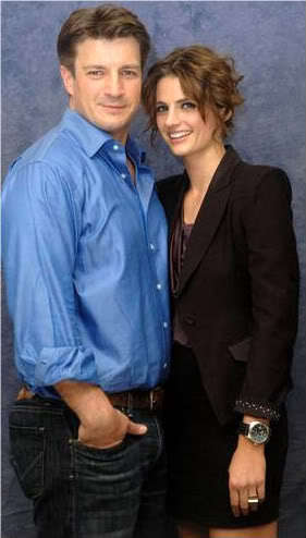 castello wallpaper containing a business suit called Stana Katic/Nathan Fillion