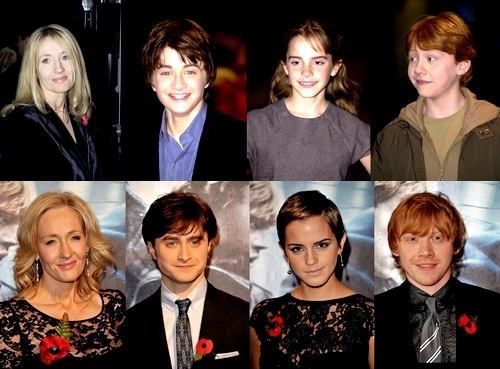 Harry Potter karatasi la kupamba ukuta with a business suit, a well dressed person, and a suit entitled The Cast: Then & Now