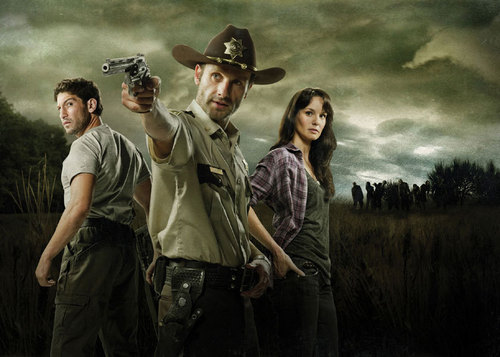 Walking Dead fond d'écran containing a boater, a fedora, and a campaign hat entitled Shane, Rick & Lori