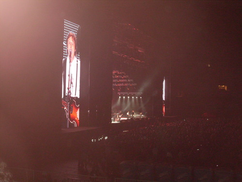 Paul McCartney wolpeyper with a business district called Up and Coming Tour in Argentina (11-11-2010)