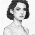 Winona Ryder with Medium Length Hair Drawn in Pencil