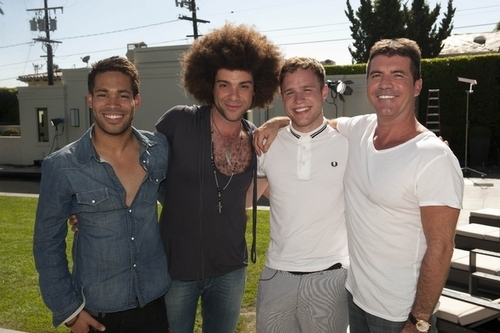 X Factor Finalists 2009: Simon and the over 25s; Olly, Danyl and Jamie.