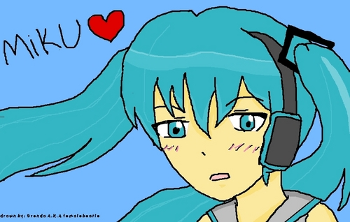 my drawing of Miku (not so good)