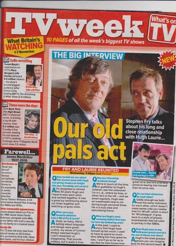 "From ""What's on TV"" 20 - 26 Nov Fry and Laurie Reunite"