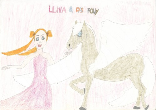 """""""Luna and the pony"""" (girl with winged pony)"""