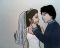 Anime-style Delena wedding