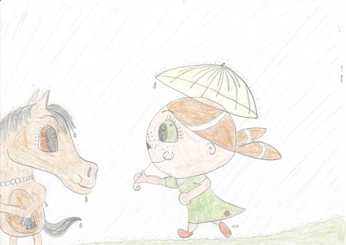 Best フレンズ share an umbrella in the rain