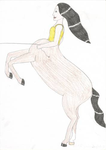 Drawing দেওয়ালপত্র probably containing a sign and জীবন্ত entitled Female centaur