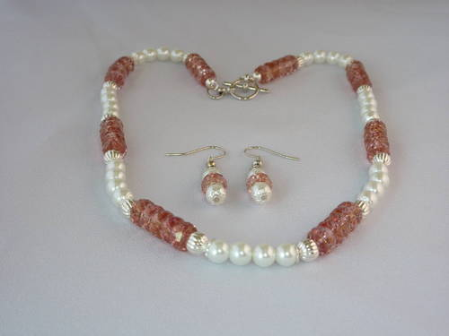 Glass Pearl & Czech Glass Necklace & Earrings